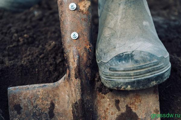 Положение лопаты при перекопке